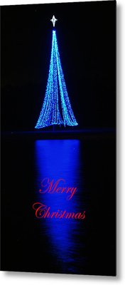 Christmas In Blue Metal Print