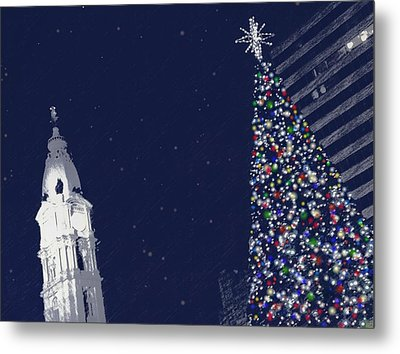 Christmas In Center City Metal Print by Photographic Arts And Design Studio