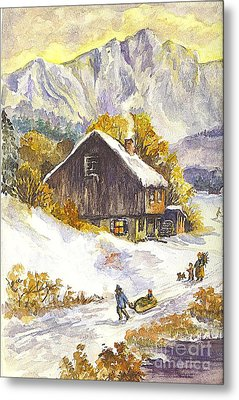 Metal Print featuring the painting A Winter Wonderland Part 1 by Carol Wisniewski