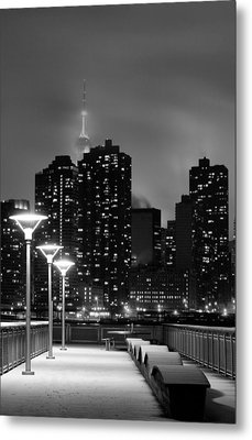 Christmas In Nyc Black And White Metal Print by JC Findley