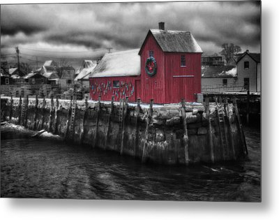 Christmas In Rockport New England Metal Print by Jeff Folger