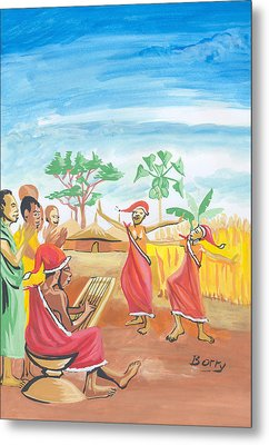 Metal Print featuring the painting Christmas In Rwanda by Emmanuel Baliyanga