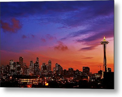 Christmas In Seattle Metal Print by Benjamin Yeager