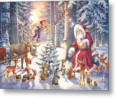 Christmas In The Forest Metal Print by Zorina Baldescu