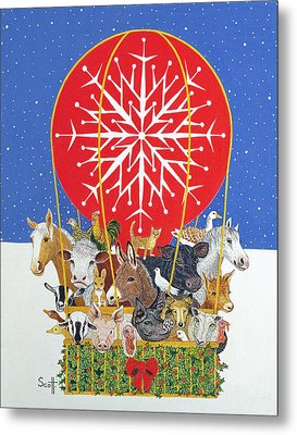 Christmas Journey Oil On Canvas Metal Print by Pat Scott