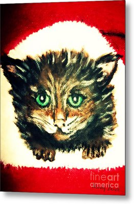 Metal Print featuring the painting Christmas Kitten  by Mindy Bench