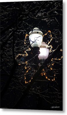 Christmas Light Post - Grants Pass Metal Print by Mick Anderson