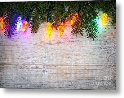 Christmas Lights With Pine Branches Metal Print by Elena Elisseeva
