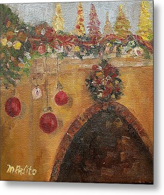 Christmas Mantle At The Mission Inn Metal Print