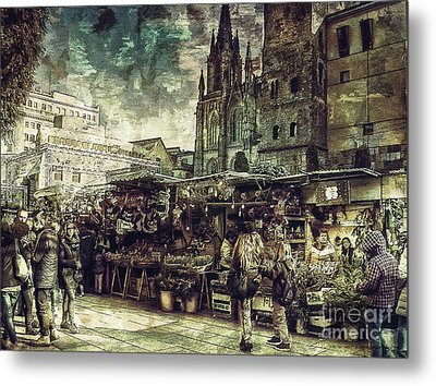 Christmas Market - A Dickensian Look Metal Print by Pedro L Gili