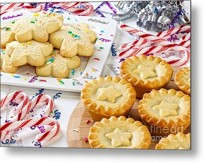 Christmas Mince Pies Cookies Candy Canes Metal Print