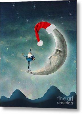 Christmas Moon Metal Print by Juli Scalzi