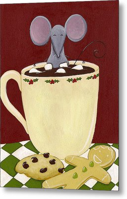 Christmas Mouse Metal Print by Christy Beckwith