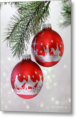Christmas Nativity Ornaments Metal Print
