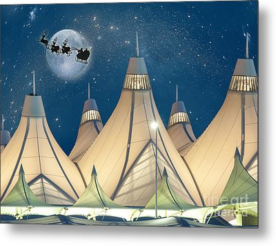 Christmas Night At Denver International Airport Metal Print
