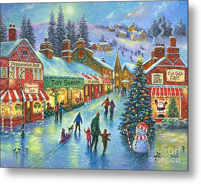 Christmas On Peppermint Lane Metal Print