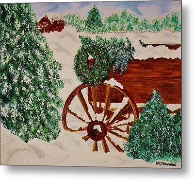 Metal Print featuring the painting Christmas On The Farm by Celeste Manning