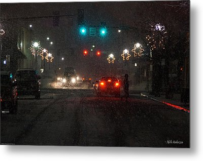 Christmas On The Streets Of Grants Pass Metal Print by Mick Anderson