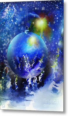 Metal Print featuring the painting Christmas Ornament by Allison Ashton