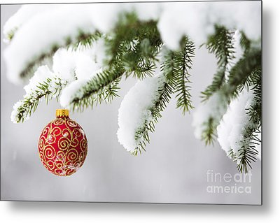 Christmas Ornament In The Snow Metal Print by Diane Diederich