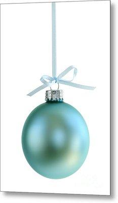 Christmas Ornament On White Metal Print by Elena Elisseeva