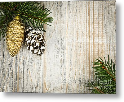 Christmas Ornaments With Pine Branches Metal Print by Elena Elisseeva