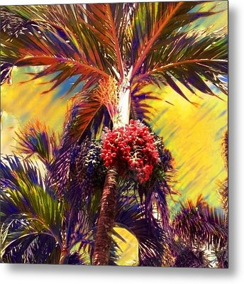 Christmas Palm Tree In Yellow - Square Metal Print