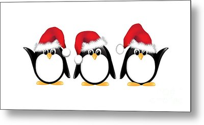 Christmas Penguins Isolated Metal Print