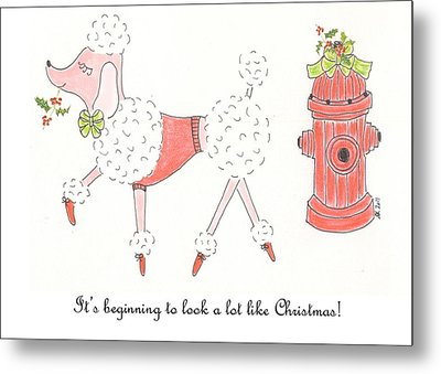 Christmas Poodle Metal Print by Stephanie Grant