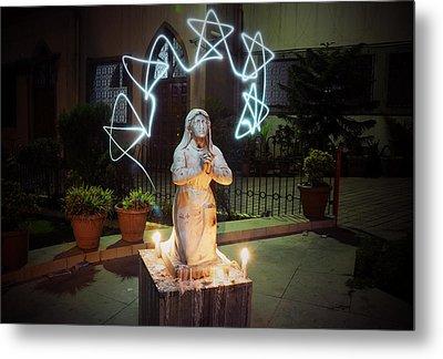 Christmas Prayers Metal Print by Money Sharma