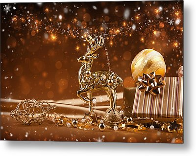 Christmas Reindeer In Gold Metal Print