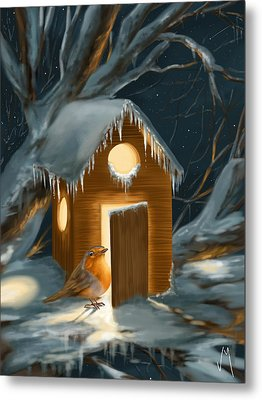 Christmas Robin Metal Print by Veronica Minozzi