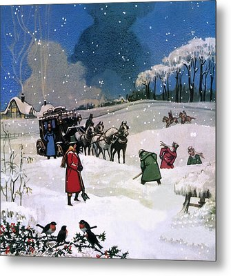 Christmas Scene Metal Print by English School