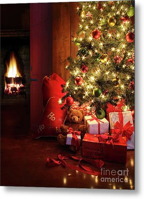 Christmas Scene With Tree And Fire In Background Metal Print by Sandra Cunningham
