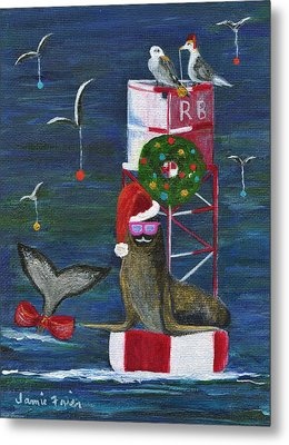 Christmas Seal And Friends Metal Print by Jamie Frier