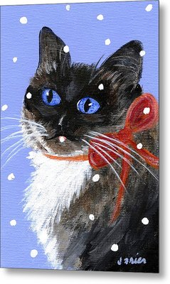Metal Print featuring the painting Christmas Siamese by Jamie Frier