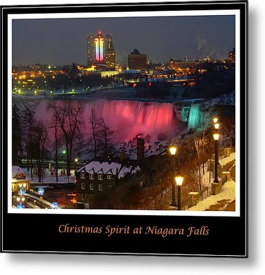 Christmas Spirit At Niagara Falls - Holiday Card Metal Print