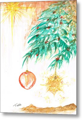 Metal Print featuring the painting Christmas Star by Teresa White