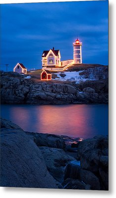 Christmas Time At Nubble Light. Metal Print by Jeff Sinon