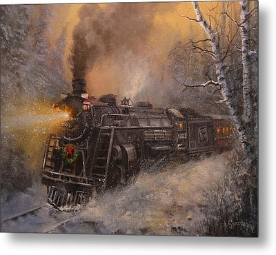 Christmas Train In Wisconsin Metal Print by Tom Shropshire