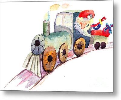 Christmas Train With Santa Claus Metal Print