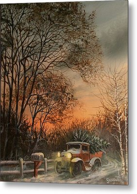 Christmas Tree Delivery Metal Print