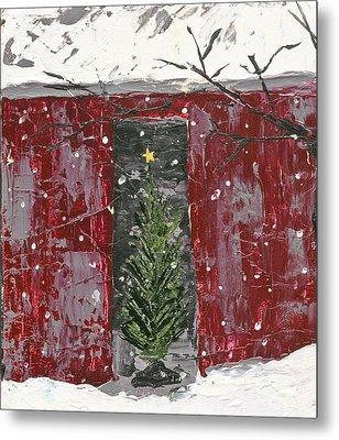 Christmas Tree In Barn Metal Print
