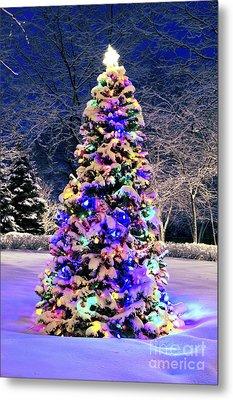 Christmas Tree In Snow Metal Print