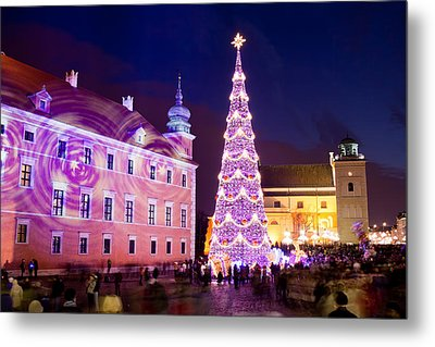 Christmas Tree In Warsaw Old Town Metal Print by Artur Bogacki