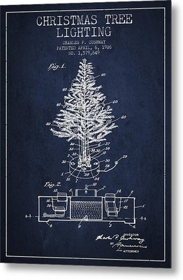 Christmas Tree Lighting Patent From 1926 - Navy Blue Metal Print by Aged Pixel
