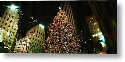 Christmas Tree Lit Up At Night Metal Print by Panoramic Images