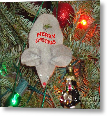 Metal Print featuring the photograph Christmas Tree Mouse by Joseph Baril