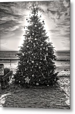 Metal Print featuring the painting Christmas Tree On The Beach by Gregory Dyer