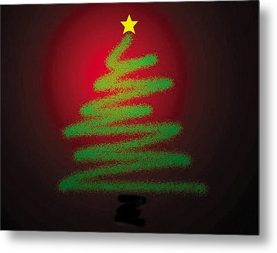 Christmas Tree With Star Metal Print by Genevieve Esson